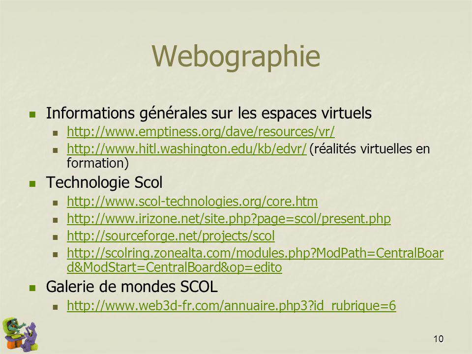 10 Webographie Informations générales sur les espaces virtuels http://www.emptiness.org/dave/resources/vr/ http://www.hitl.washington.edu/kb/edvr/ (réalités virtuelles en formation) http://www.hitl.washington.edu/kb/edvr/ Technologie Scol http://www.scol-technologies.org/core.htm http://www.irizone.net/site.php?page=scol/present.php http://sourceforge.net/projects/scol http://scolring.zonealta.com/modules.php?ModPath=CentralBoar d&ModStart=CentralBoard&op=edito http://scolring.zonealta.com/modules.php?ModPath=CentralBoar d&ModStart=CentralBoard&op=edito Galerie de mondes SCOL http://www.web3d-fr.com/annuaire.php3?id_rubrique=6