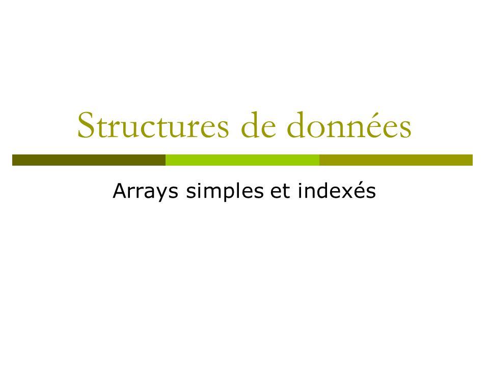 Structures de données Arrays simples et indexés