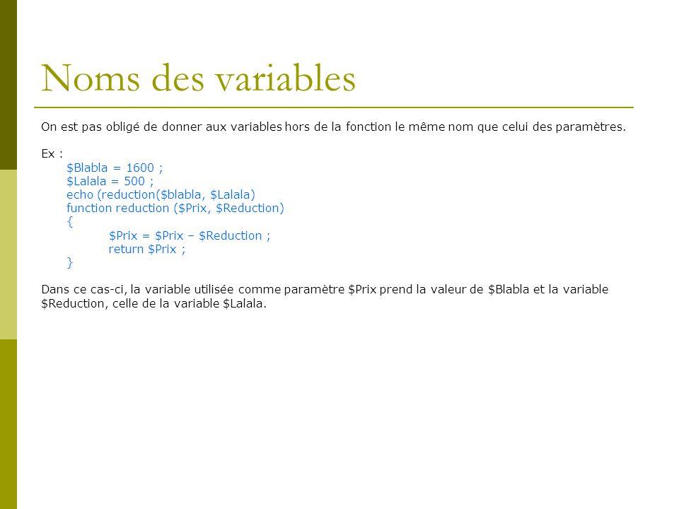 Noms des variables On est pas obligé de donner aux variables hors de la fonction le même nom que celui des paramètres.