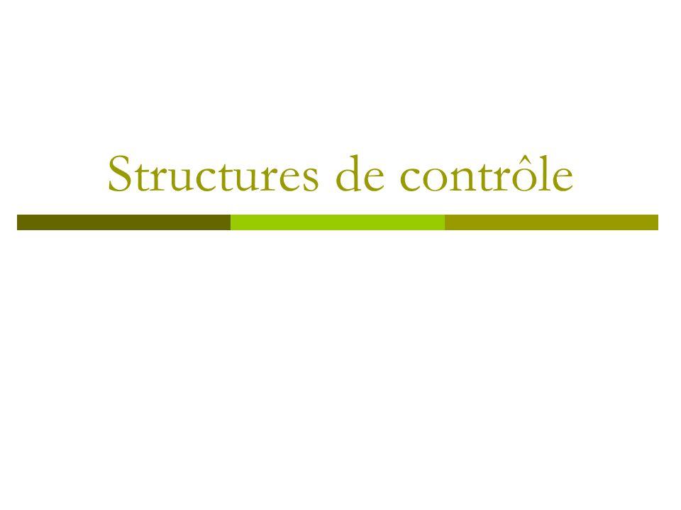 Introduction Les structures de contrôle (boucles) permettent deffectuer des tâches répétitives.