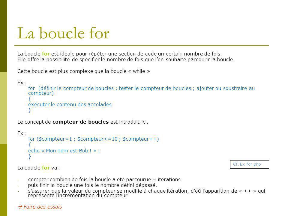 La boucle for La boucle for est idéale pour répéter une section de code un certain nombre de fois.