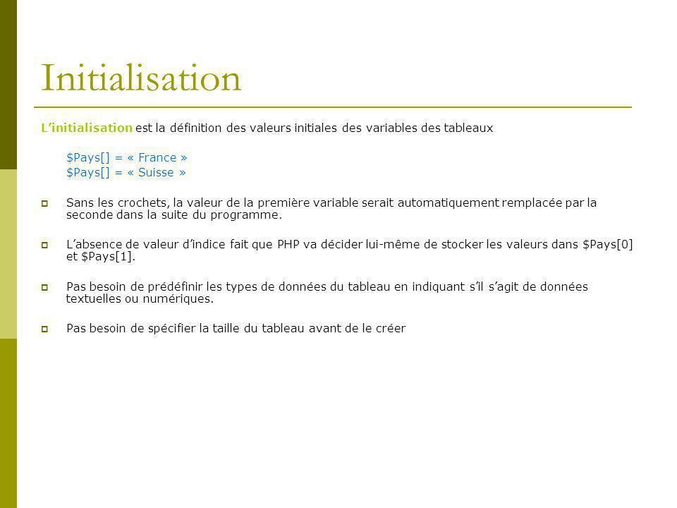 Initialisation Linitialisation est la définition des valeurs initiales des variables des tableaux $Pays[] = « France » $Pays[] = « Suisse » Sans les crochets, la valeur de la première variable serait automatiquement remplacée par la seconde dans la suite du programme.