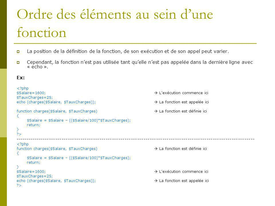 Ordre des éléments au sein dune fonction La position de la définition de la fonction, de son exécution et de son appel peut varier.