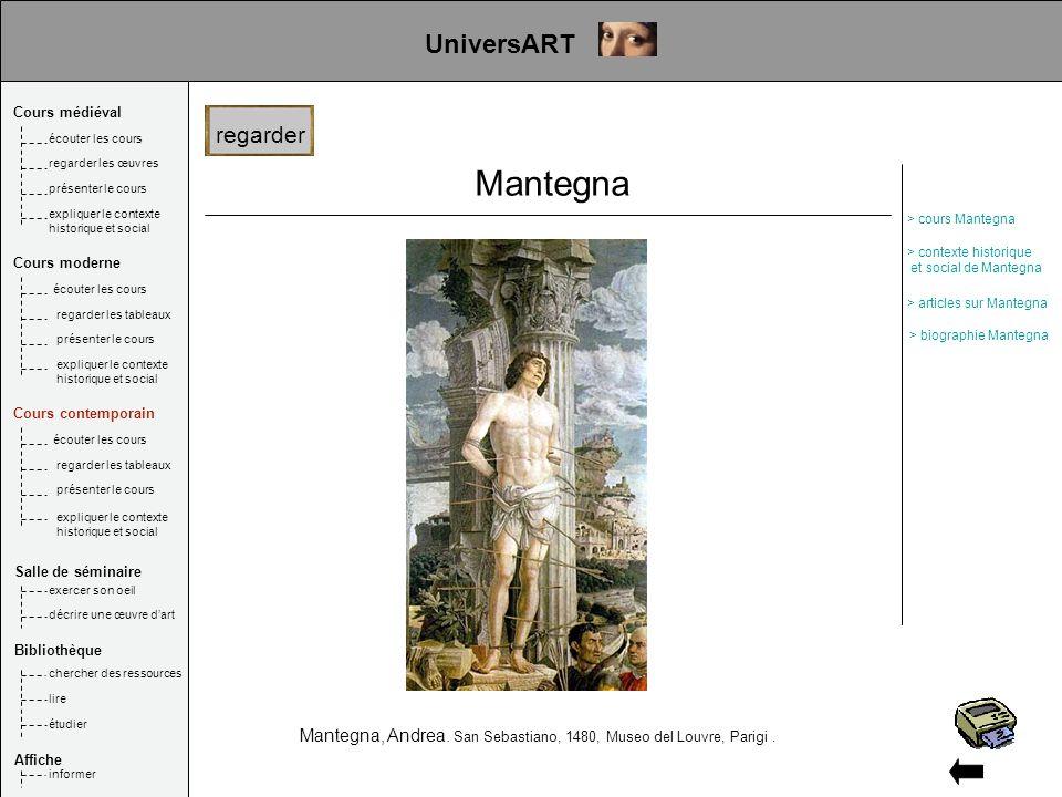 Mantegna Mantegna, Andrea. San Sebastiano, 1480, Museo del Louvre, Parigi. UniversART regarder Cours médiéval Salle de séminaire Bibliothèque Affiche