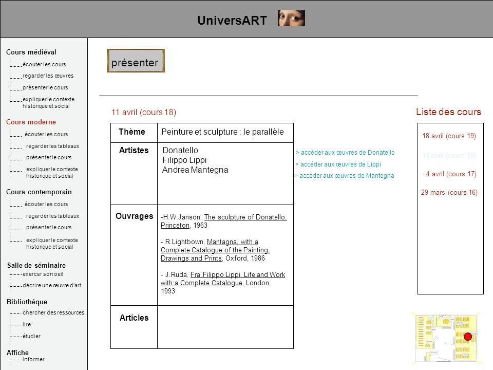 11 avril (cours 18) Thème Artistes Articles Ouvrages Peinture et sculpture : le parallèle Donatello Filippo Lippi Andrea Mantegna Liste des cours 18 a