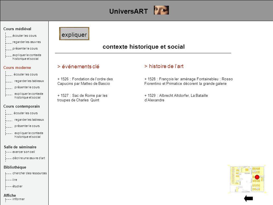 contexte historique et social > événements clé + 1526 : Fondation de lordre des Capucins par Matteo de Bascio expliquer UniversART + 1527 : Sac de Rom