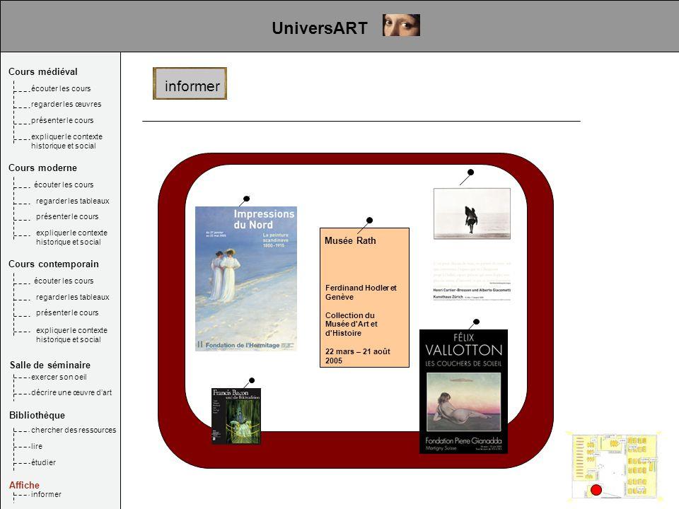 Musée Rath Ferdinand Hodler et Genève Collection du Musée d'Art et d'Histoire 22 mars – 21 août 2005 informer UniversART Cours médiéval Salle de sémin