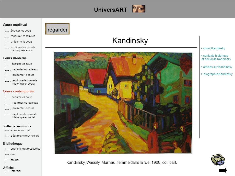 Kandinsky Kandinsky, Wassily. Murnau, femme dans la rue, 1908, coll.part. UniversART regarder Cours médiéval Salle de séminaire Bibliothèque Affiche é