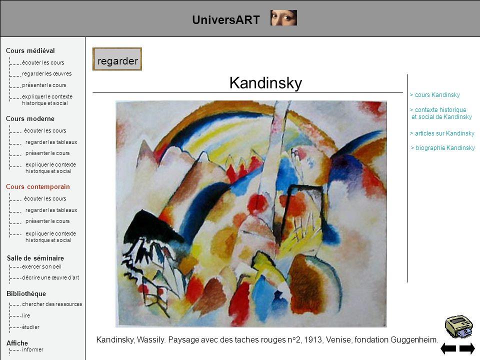 Kandinsky Kandinsky, Wassily. Paysage avec des taches rouges n o 2, 1913, Venise, fondation Guggenheim. regarder UniversART Cours médiéval Salle de sé