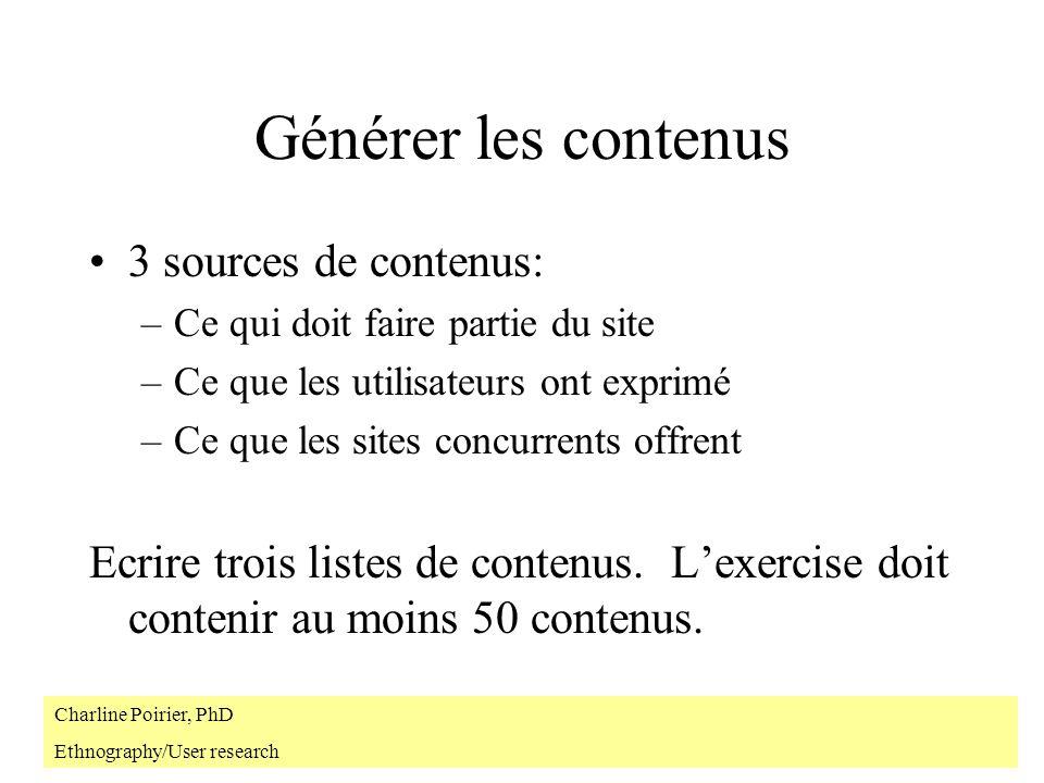 Générer les contenus 3 sources de contenus: –Ce qui doit faire partie du site –Ce que les utilisateurs ont exprimé –Ce que les sites concurrents offre