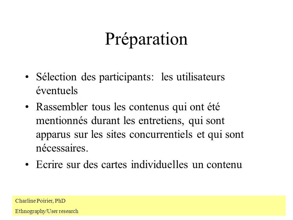 Préparation Sélection des participants: les utilisateurs éventuels Rassembler tous les contenus qui ont été mentionnés durant les entretiens, qui sont