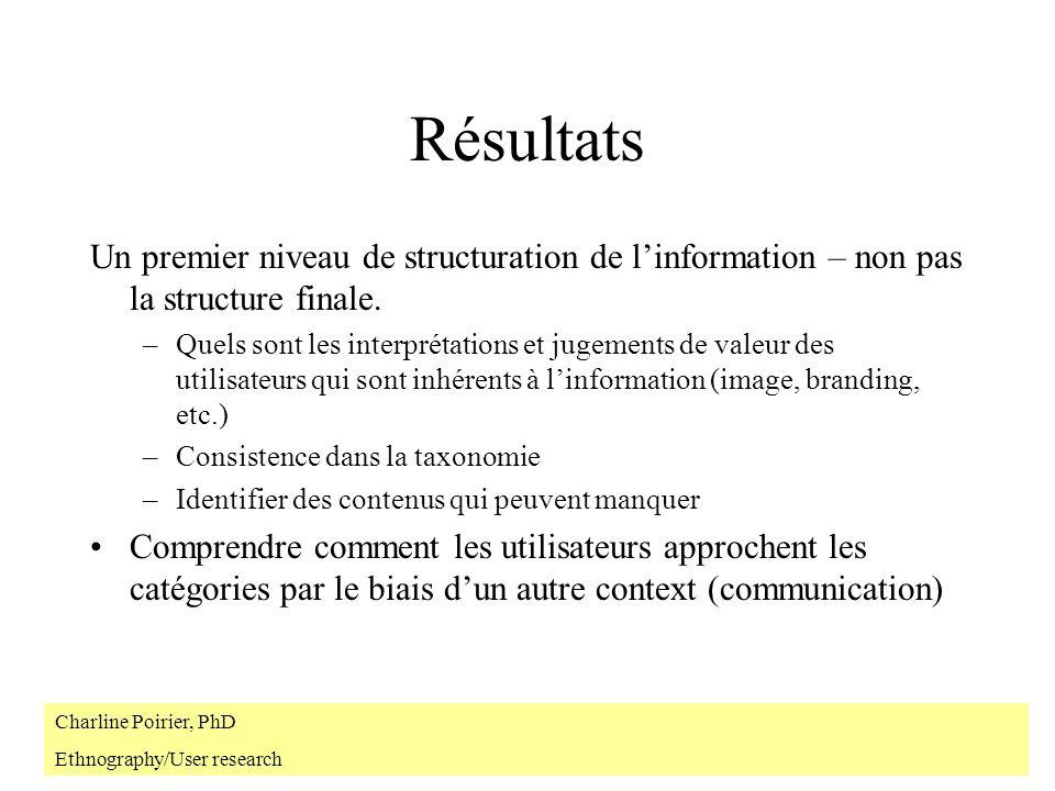 Résultats Un premier niveau de structuration de linformation – non pas la structure finale. –Quels sont les interprétations et jugements de valeur des