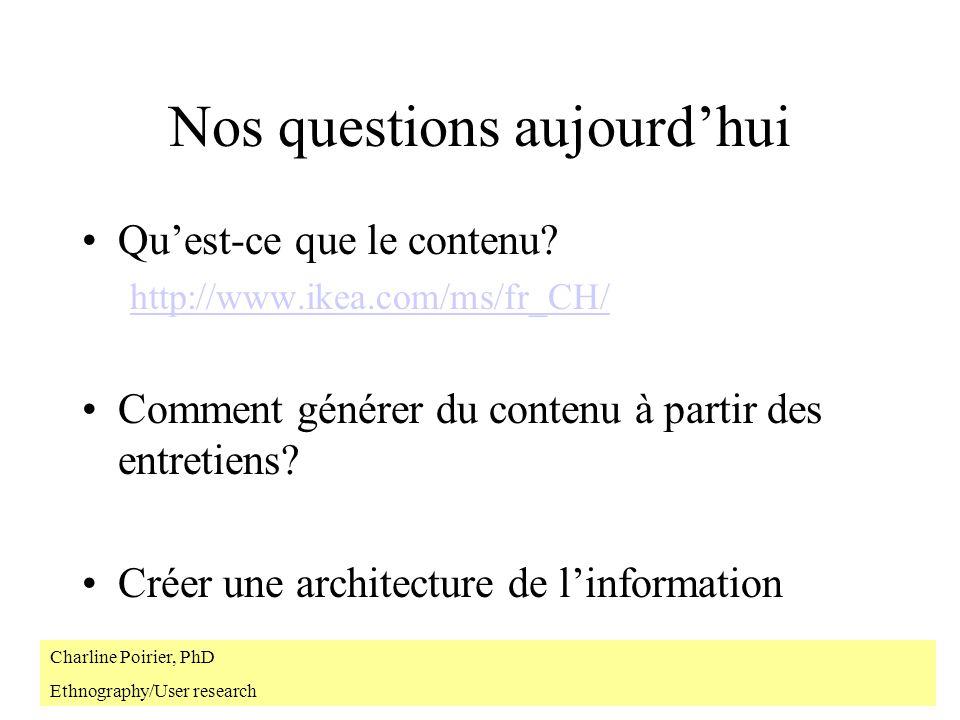 Nos questions aujourdhui Quest-ce que le contenu? http://www.ikea.com/ms/fr_CH/ Comment générer du contenu à partir des entretiens? Créer une architec