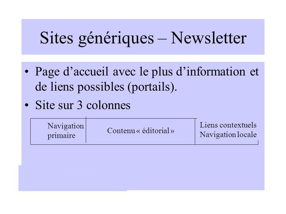 Sites génériques – Newsletter Page daccueil avec le plus dinformation et de liens possibles (portails). Site sur 3 colonnes Navigation primaire Conten