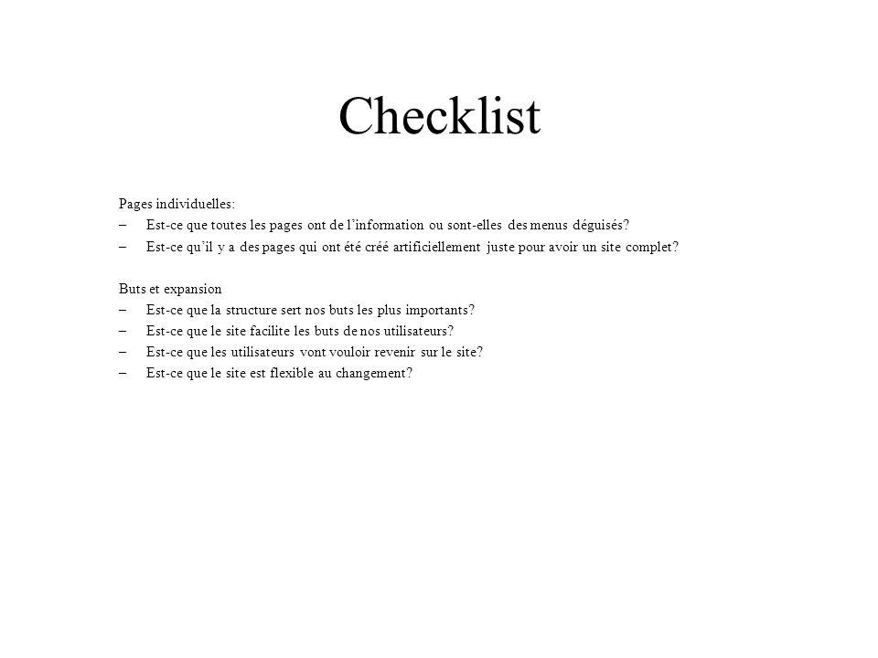 Checklist Pages individuelles: –Est-ce que toutes les pages ont de linformation ou sont-elles des menus déguisés? –Est-ce quil y a des pages qui ont é