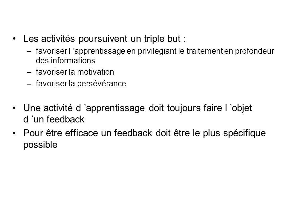 Les activités poursuivent un triple but : –favoriser l apprentissage en privilégiant le traitement en profondeur des informations –favoriser la motiva