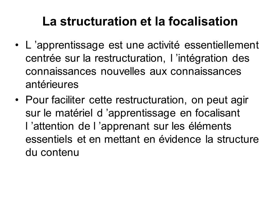 La structuration et la focalisation L apprentissage est une activité essentiellement centrée sur la restructuration, l intégration des connaissances n