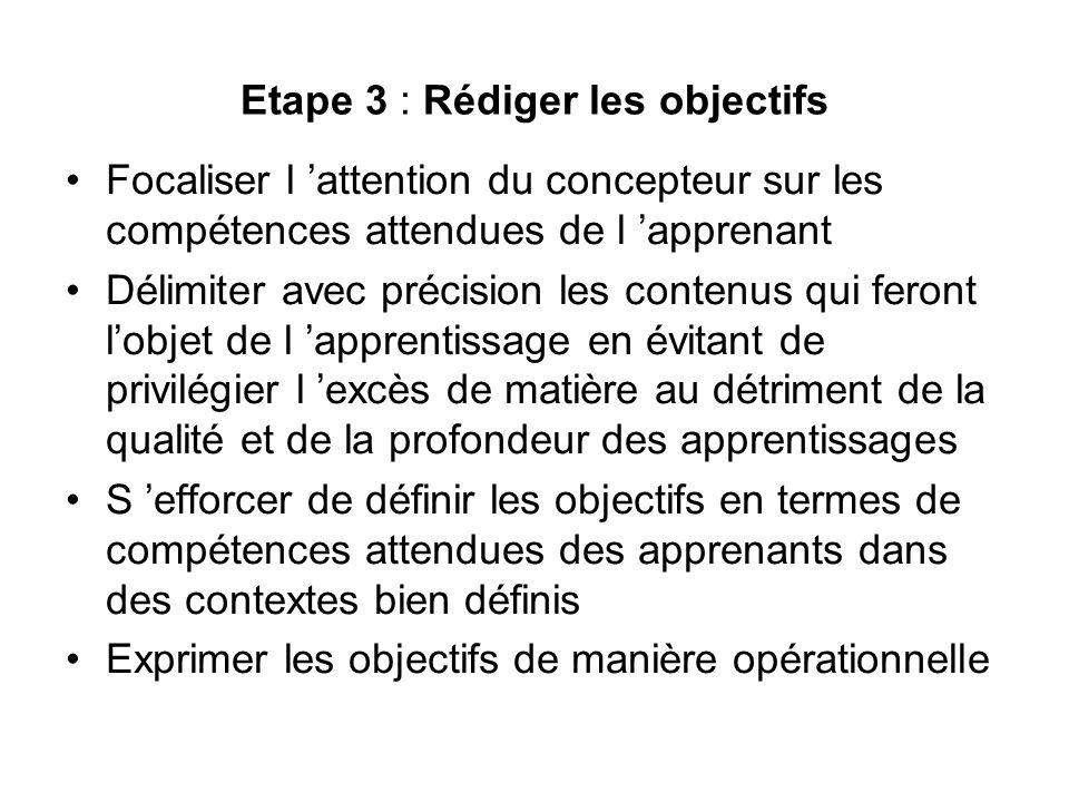 Etape 3 : Rédiger les objectifs Focaliser l attention du concepteur sur les compétences attendues de l apprenant Délimiter avec précision les contenus