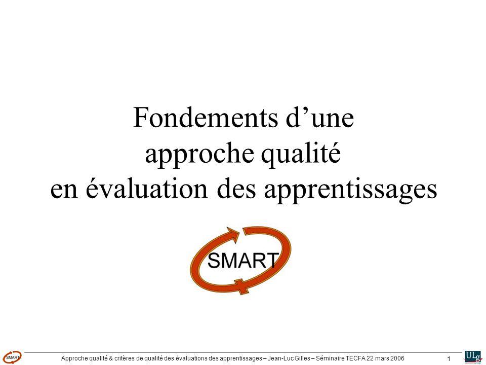 Approche qualité & critères de qualité des évaluations des apprentissages – Jean-Luc Gilles – Séminaire TECFA 22 mars 2006 1 Fondements dune approche qualité en évaluation des apprentissages