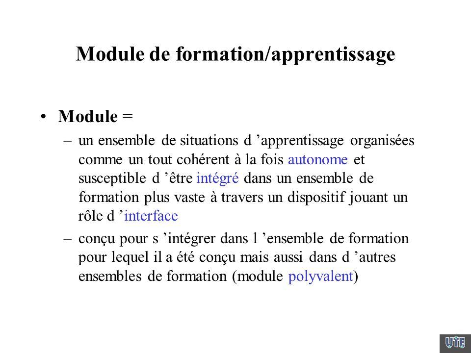Module de formation/apprentissage Module = –un ensemble de situations d apprentissage organisées comme un tout cohérent à la fois autonome et suscepti