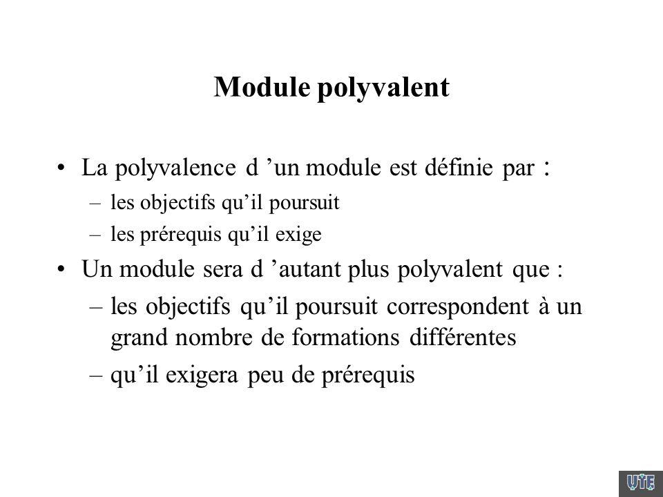 Module polyvalent La polyvalence d un module est définie par : –les objectifs quil poursuit –les prérequis quil exige Un module sera d autant plus pol