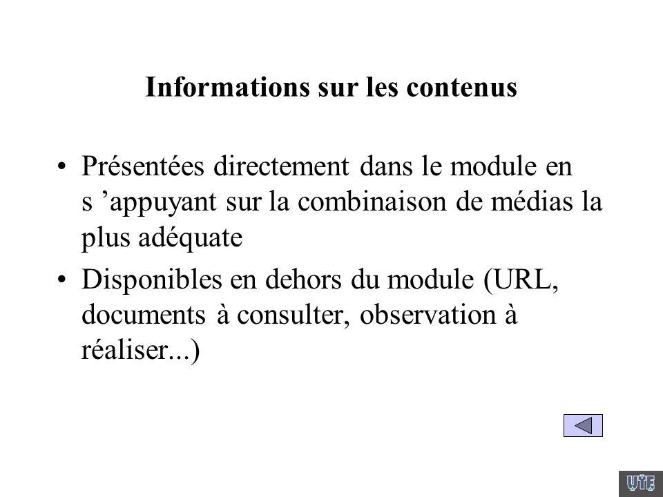 Informations sur les contenus Présentées directement dans le module en s appuyant sur la combinaison de médias la plus adéquate Disponibles en dehors