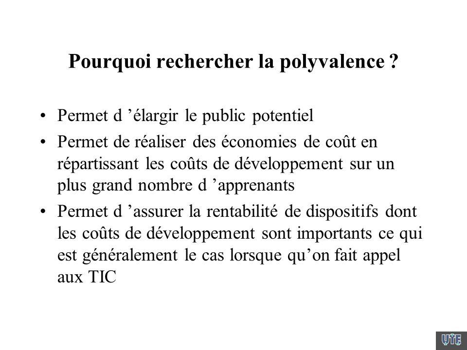Pourquoi rechercher la polyvalence ? Permet d élargir le public potentiel Permet de réaliser des économies de coût en répartissant les coûts de dévelo