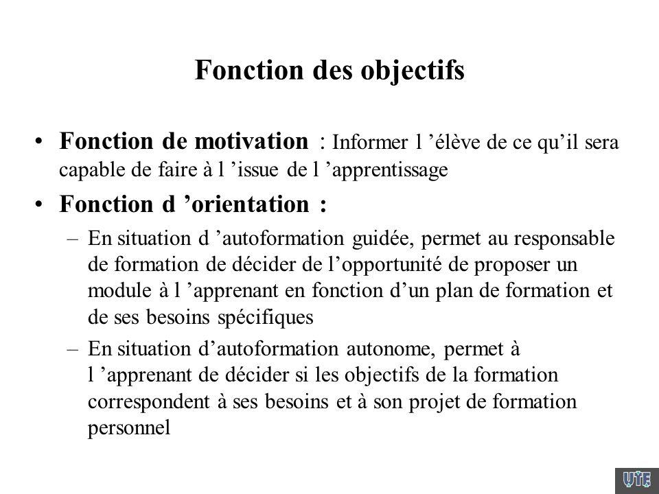 Fonction des objectifs Fonction de motivation : Informer l élève de ce quil sera capable de faire à l issue de l apprentissage Fonction d orientation