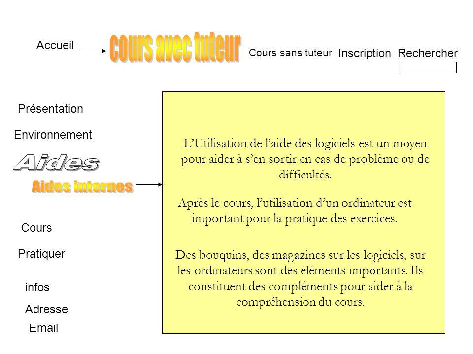 Accueil Présentation Cours Pratiquer infos Adresse InscriptionRechercher Email Cours sans tuteur LUtilisation de laide des logiciels est un moyen pour aider à sen sortir en cas de problème ou de difficultés.