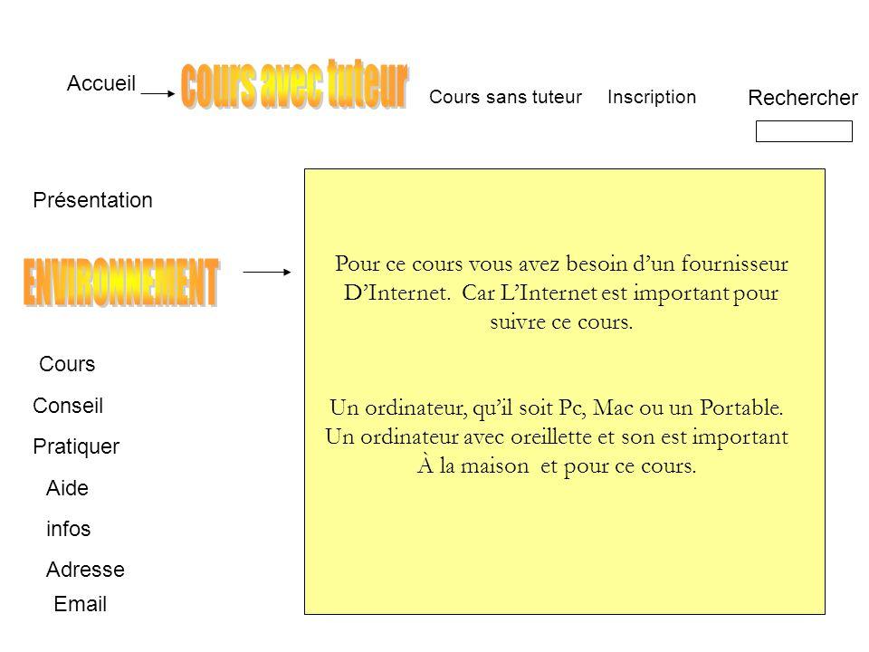 Accueil Présentation Cours Conseil Pratiquer Aide infos Adresse Inscription Rechercher Email Cours sans tuteur Pour ce cours vous avez besoin dun fournisseur DInternet.