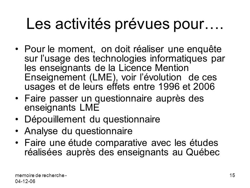 memoire de recherche - 04-12-06 15 Les activités prévues pour…. Pour le moment, on doit réaliser une enquête sur lusage des technologies informatiques