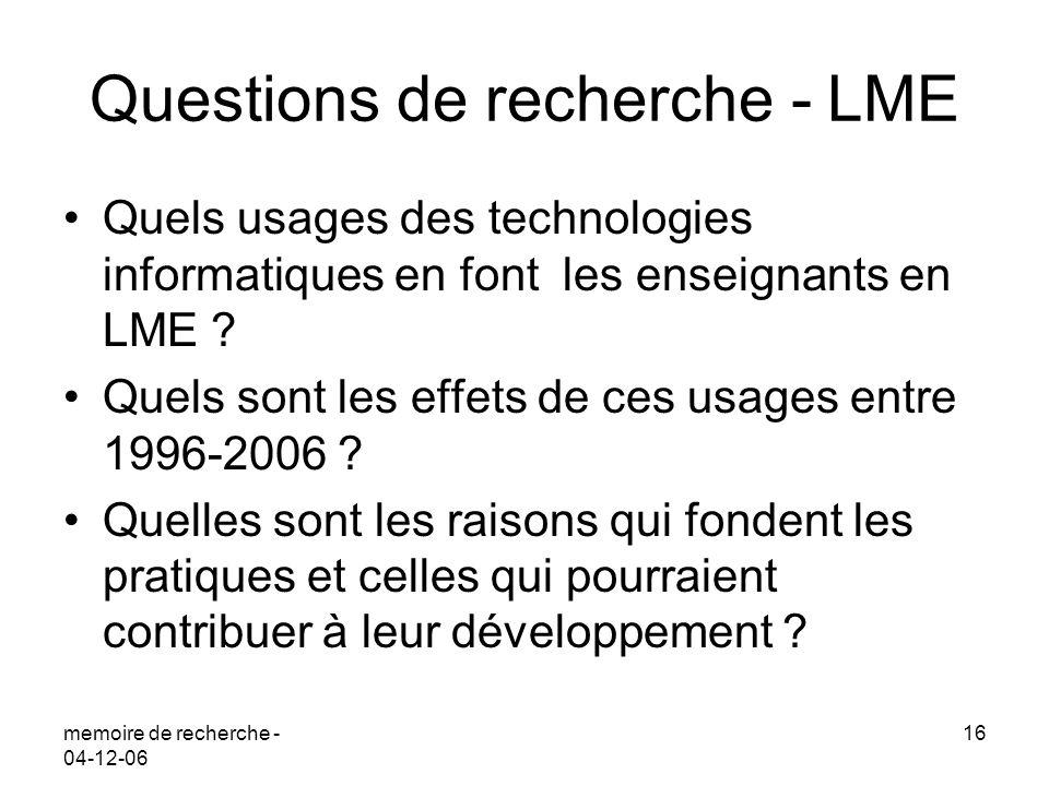 memoire de recherche - 04-12-06 16 Questions de recherche - LME Quels usages des technologies informatiques en font les enseignants en LME ? Quels son