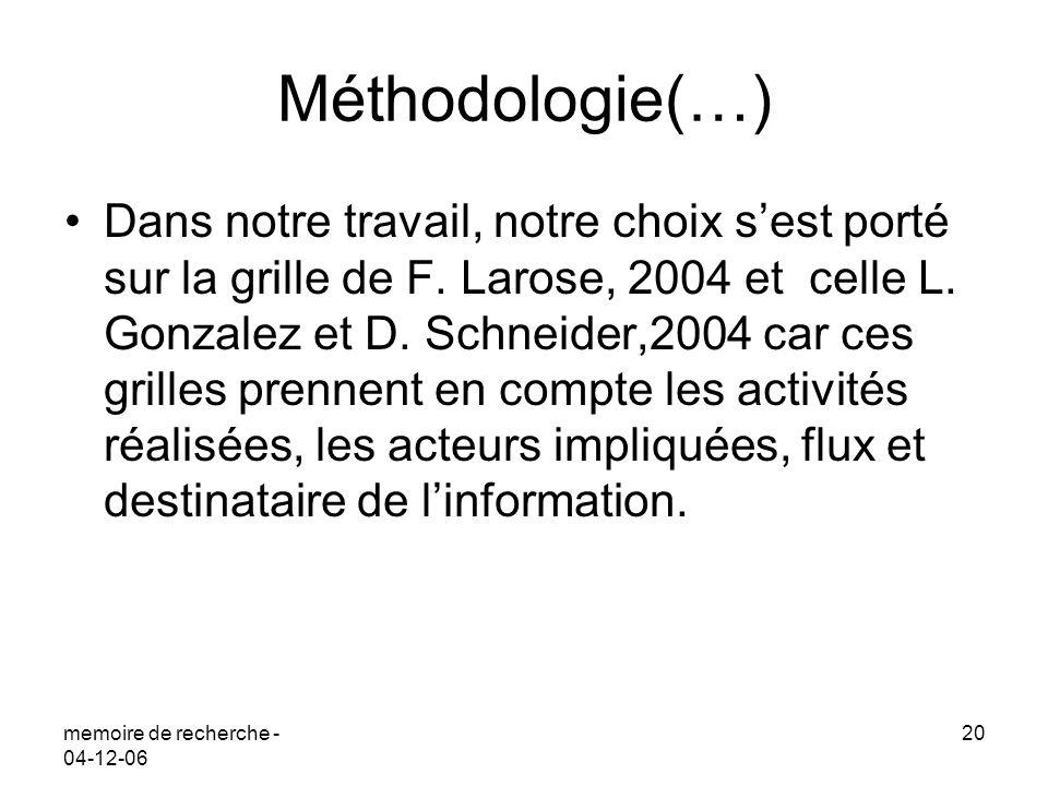 memoire de recherche - 04-12-06 20 Méthodologie(…) Dans notre travail, notre choix sest porté sur la grille de F. Larose, 2004 et celle L. Gonzalez et
