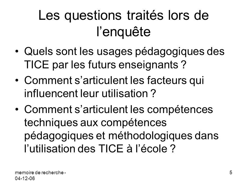 memoire de recherche - 04-12-06 5 Les questions traités lors de lenquête Quels sont les usages pédagogiques des TICE par les futurs enseignants ? Comm
