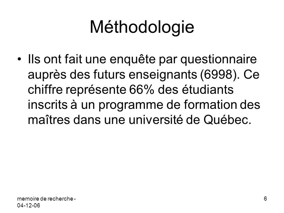 memoire de recherche - 04-12-06 6 Méthodologie Ils ont fait une enquête par questionnaire auprès des futurs enseignants (6998). Ce chiffre représente