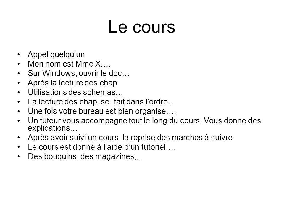 Le cours Appel quelquun Mon nom est Mme X…. Sur Windows, ouvrir le doc… Après la lecture des chap Utilisations des schemas… La lecture des chap. se fa