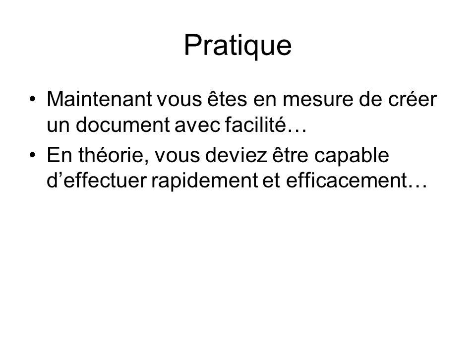 Pratique Maintenant vous êtes en mesure de créer un document avec facilité… En théorie, vous deviez être capable deffectuer rapidement et efficacement…