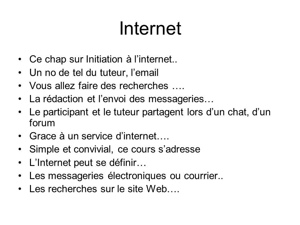 Internet Ce chap sur Initiation à linternet.. Un no de tel du tuteur, lemail Vous allez faire des recherches …. La rédaction et lenvoi des messageries