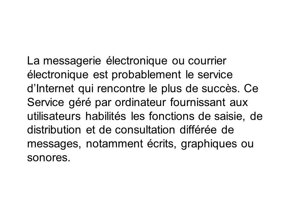 La messagerie électronique ou courrier électronique est probablement le service dInternet qui rencontre le plus de succès.