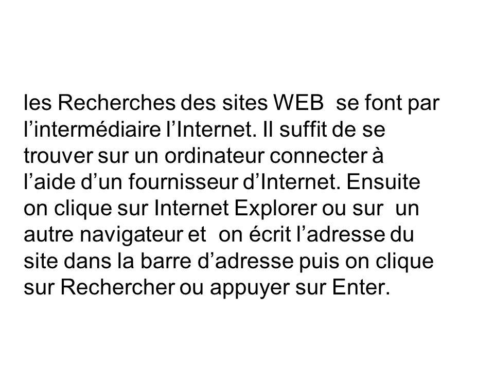 les Recherches des sites WEB se font par lintermédiaire lInternet.