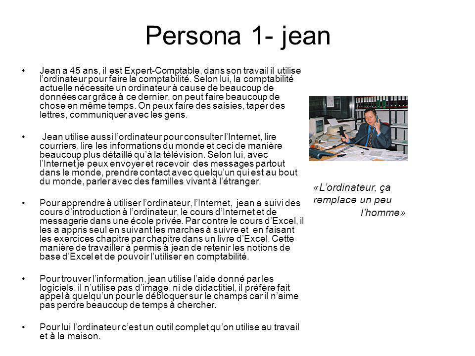 Persona 1- jean Jean a 45 ans, il est Expert-Comptable, dans son travail il utilise lordinateur pour faire la comptabilité. Selon lui, la comptabilité