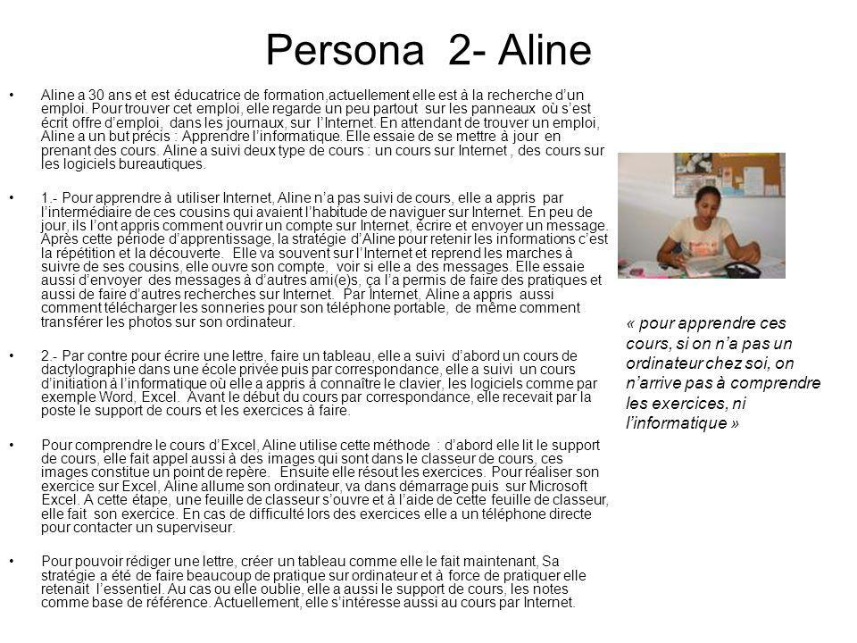 Persona 2- Aline Aline a 30 ans et est éducatrice de formation,actuellement elle est à la recherche dun emploi. Pour trouver cet emploi, elle regarde