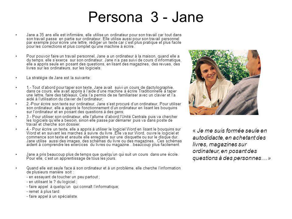 Persona 3 - Jane Jane a 35 ans elle est infirmière, elle utilise un ordinateur pour son travail car tout dans son travail passe en partie sur ordinate