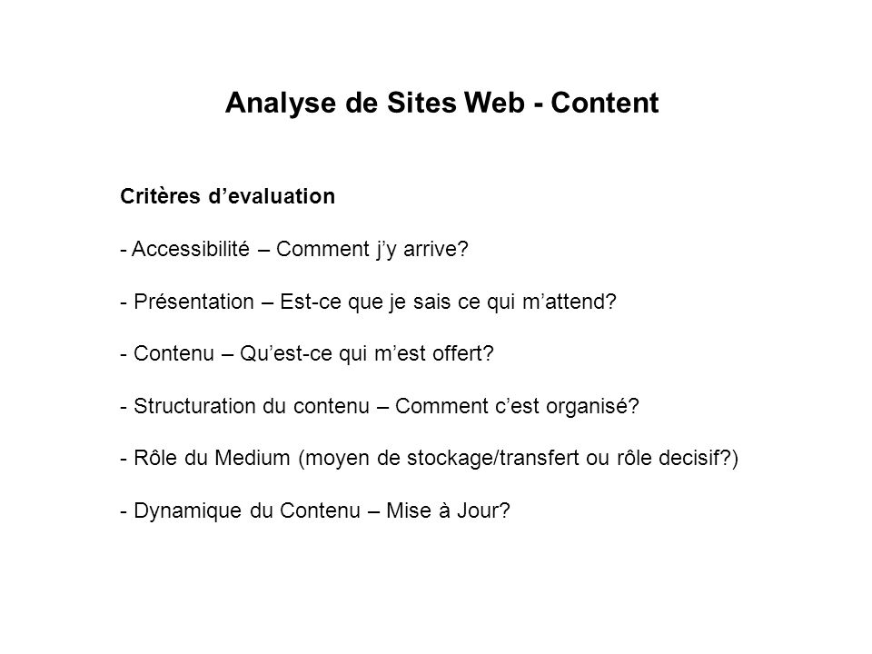 Analyse de Sites Web - Content Critères devaluation - Accessibilité – Comment jy arrive.