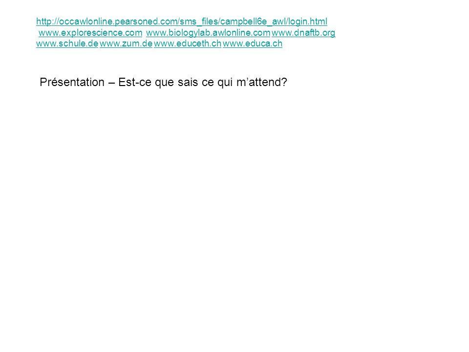 Présentation – Est-ce que sais ce qui mattend? http://occawlonline.pearsoned.com/sms_files/campbell6e_awl/login.html www.explorescience.com www.biolog