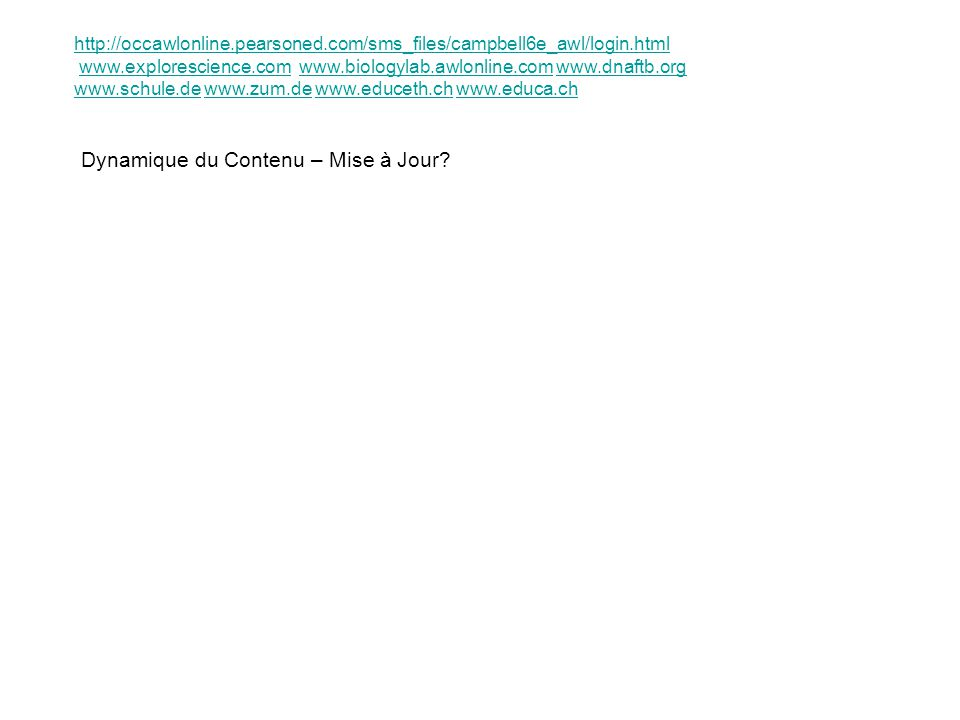 Dynamique du Contenu – Mise à Jour? http://occawlonline.pearsoned.com/sms_files/campbell6e_awl/login.html www.explorescience.com www.biologylab.awlonl