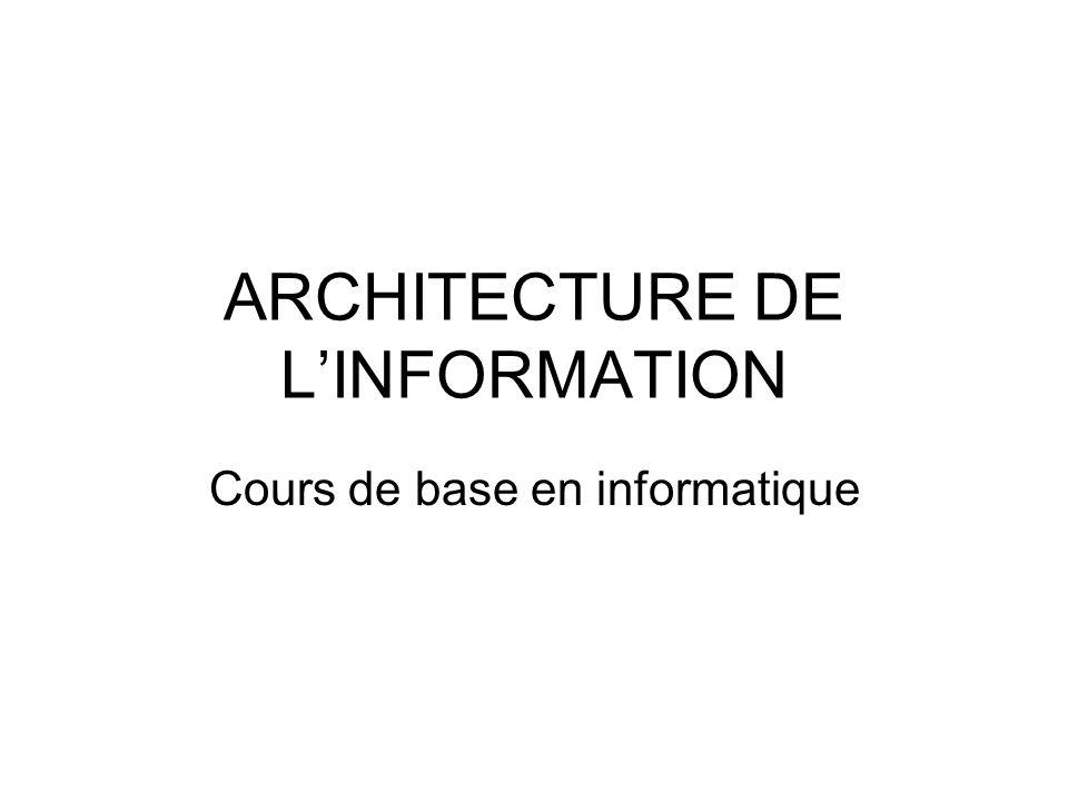 ARCHITECTURE DE LINFORMATION Cours de base en informatique