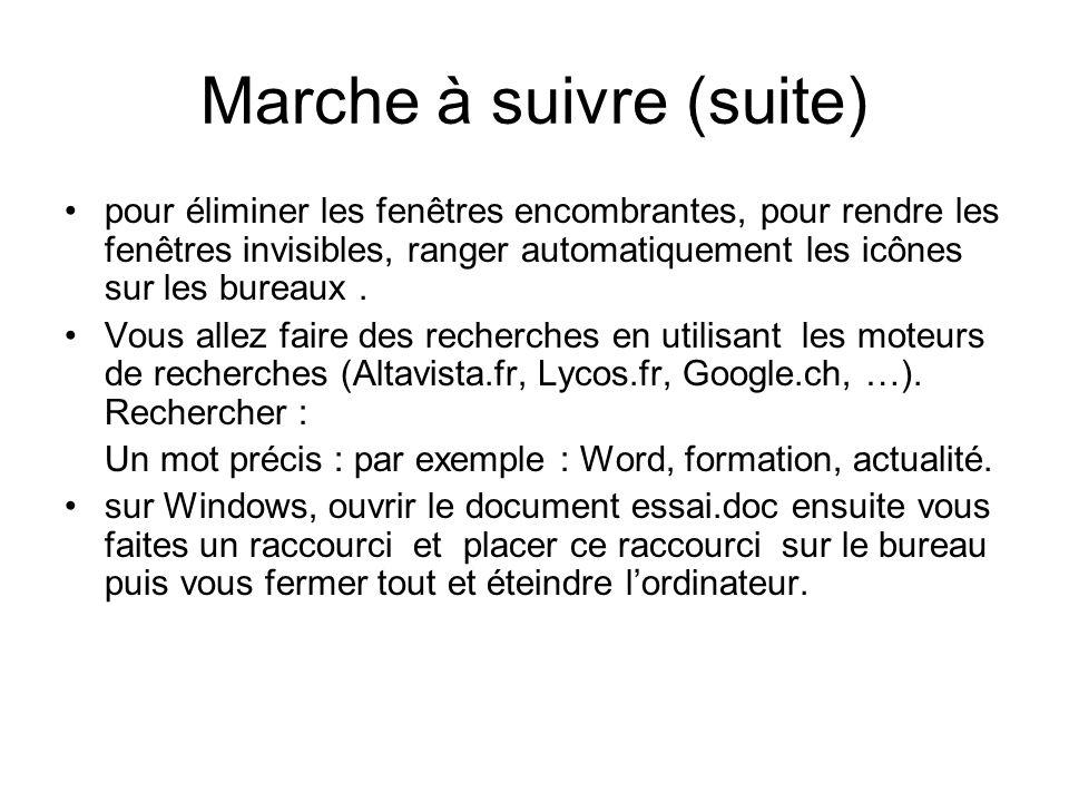 Marche à suivre (suite) pour éliminer les fenêtres encombrantes, pour rendre les fenêtres invisibles, ranger automatiquement les icônes sur les bureau