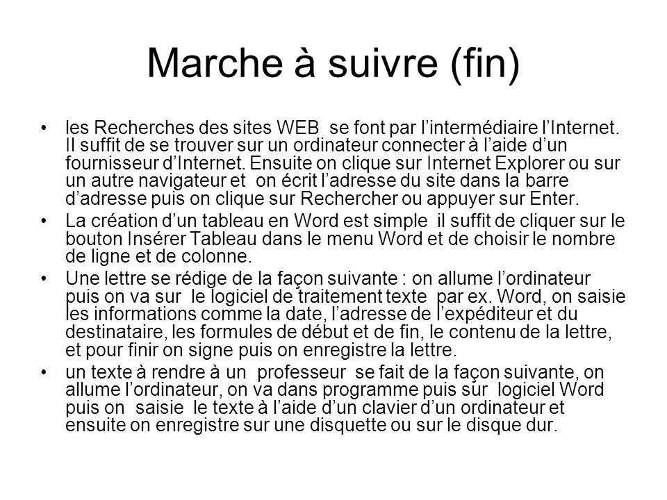 Marche à suivre (fin) les Recherches des sites WEB se font par lintermédiaire lInternet. Il suffit de se trouver sur un ordinateur connecter à laide d
