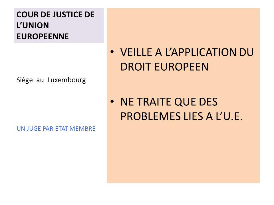 COUR DE JUSTICE DE LUNION EUROPEENNE VEILLE A LAPPLICATION DU DROIT EUROPEEN NE TRAITE QUE DES PROBLEMES LIES A LU.E.